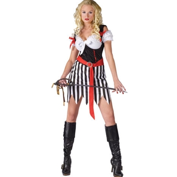 Sexy Stripe Pirate Wench M-L Costume