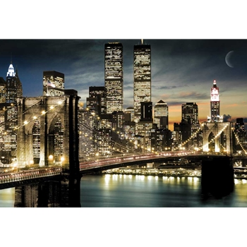 New York Night and Moon Poster