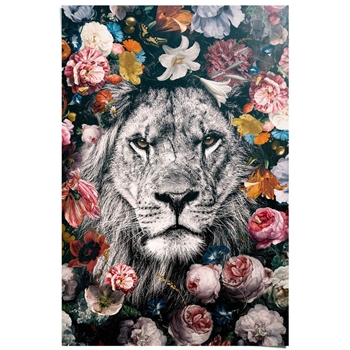 Lion With Flowers Poster